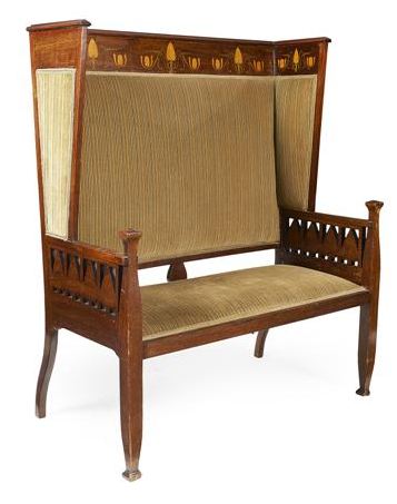 attributed to shapland u0026 petter barnstaple art nouveau mahogany and marquetry inlaid settee circa the upholstered back with wing sides and top rail