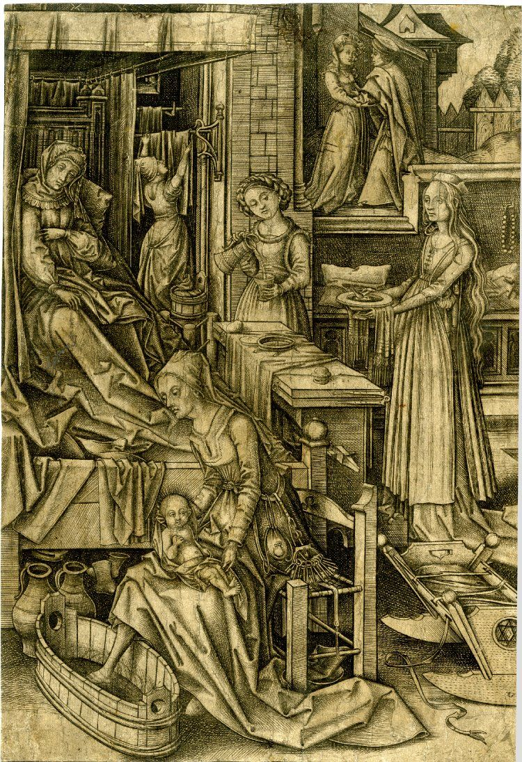 1490-1500 The Birth of the Virgin; after Holbein the Elder; within a domestic interior, St Anne lies bed in the upper left corner, attended by four maids, one of whom is bathing Mary in the left foreground; in the upper right corner St Anne and St Joachim at the Golden Gate; another impression. Engraving Producer nameAfter: Hans Holbein the Elder Print made by: Israhel van Meckenem