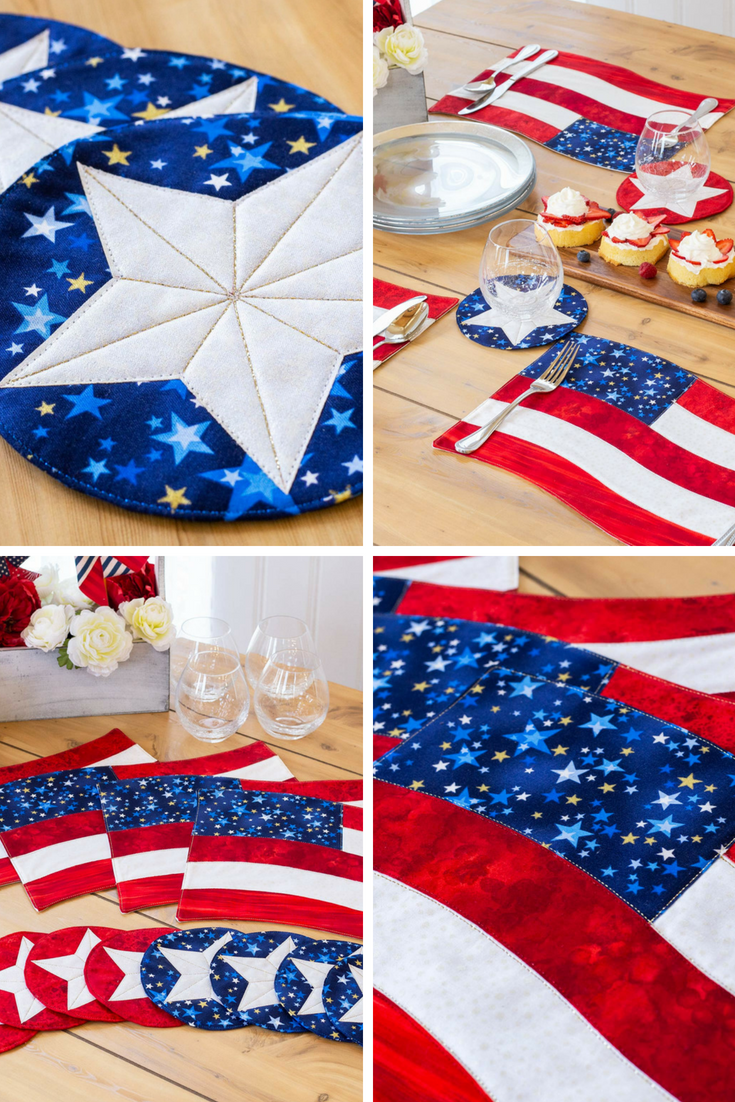 Dress Up Your Table With These Diy 4th Of July Place Mats And Coasters By Shabby Fabrics Watch The V Shabby Fabrics Quilted Placemat Patterns Patriotic Crafts