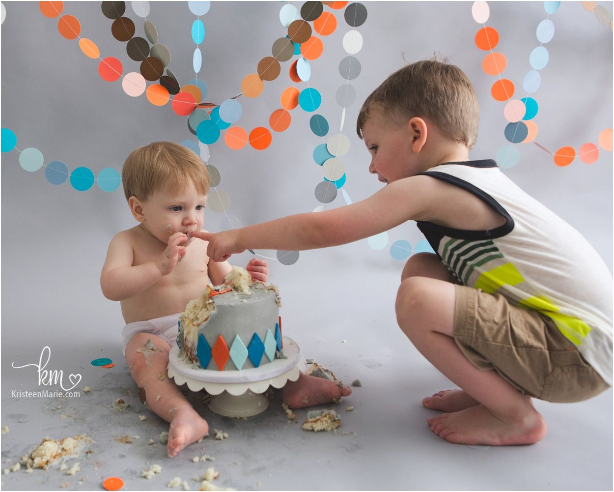 Baby Boy First 1st Birthday Cake Smash and Big Brother Set Photoshoot Outfit