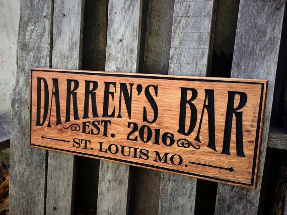 Bar Decor Signs Bar Sign Pub Sign Personalized Bar Decor Rusticmvwoodworks
