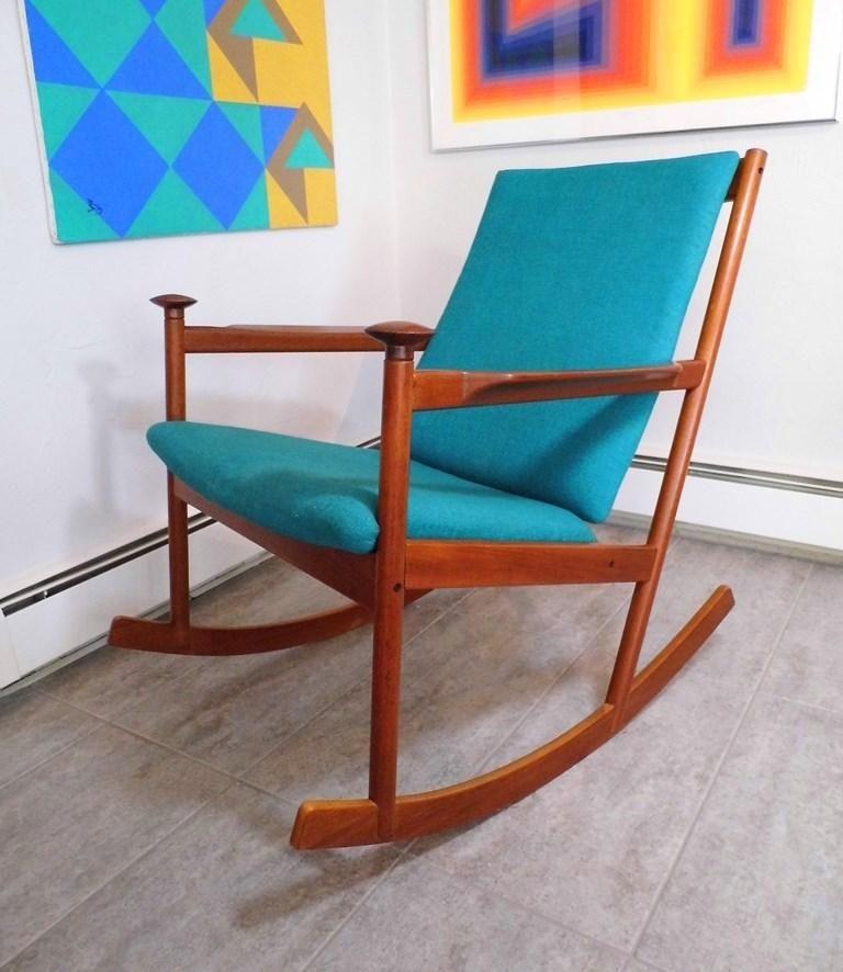 Rare Mid Century Danish Modern Westnofa Teak Rocking Chair Rocker Carpinteria