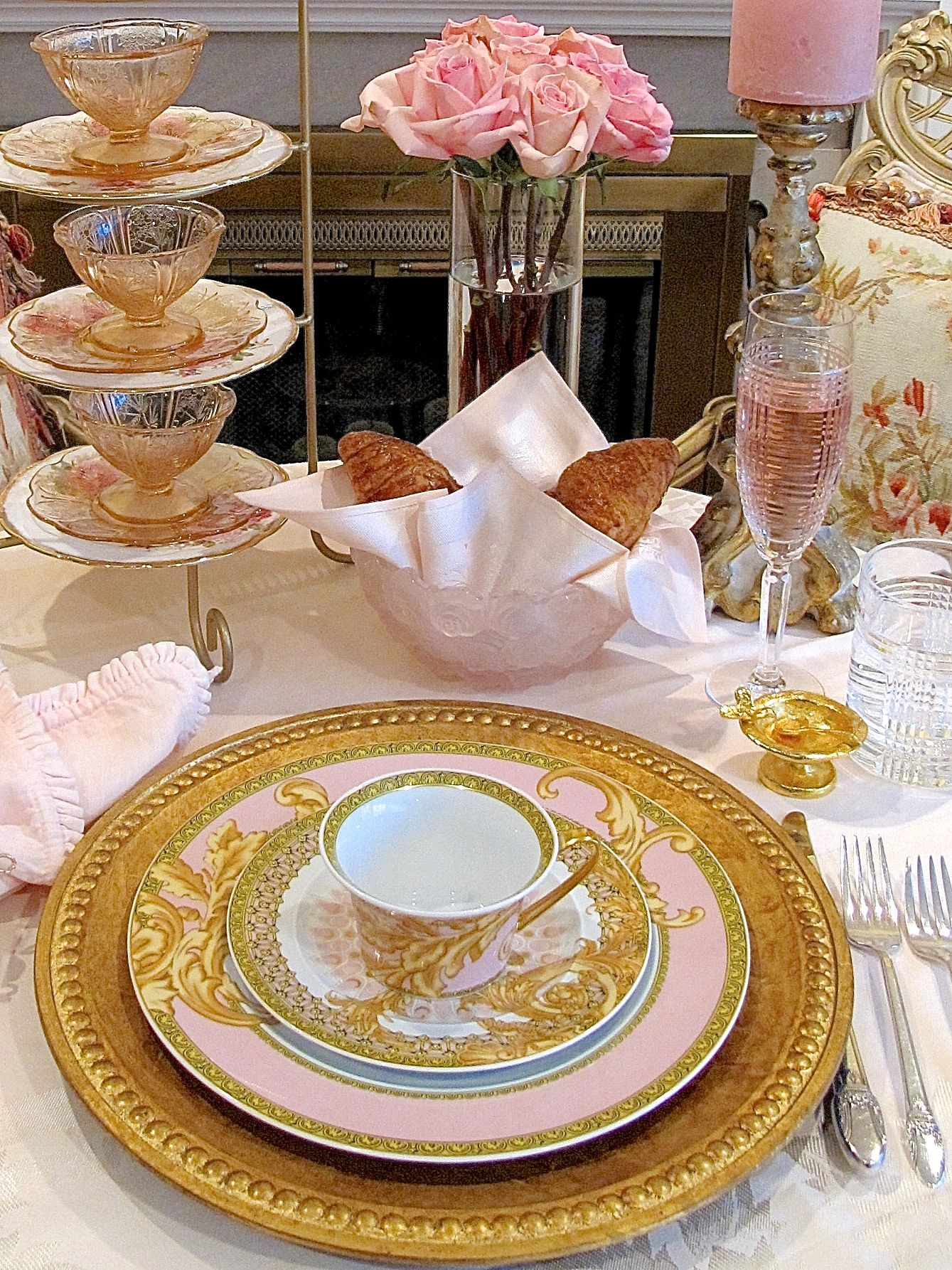 Tea Party Table Setting Pink And Gold Versace Plates Tea Party