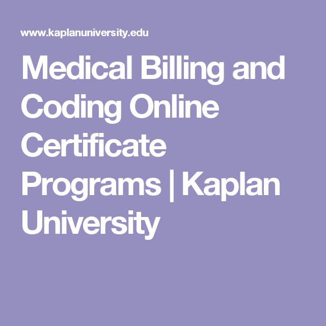 Medical Billing And Coding Online Certificate Programs Kaplan