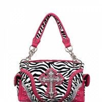 Concealed Carry Zebra Print Rhinestone Cross Handbag