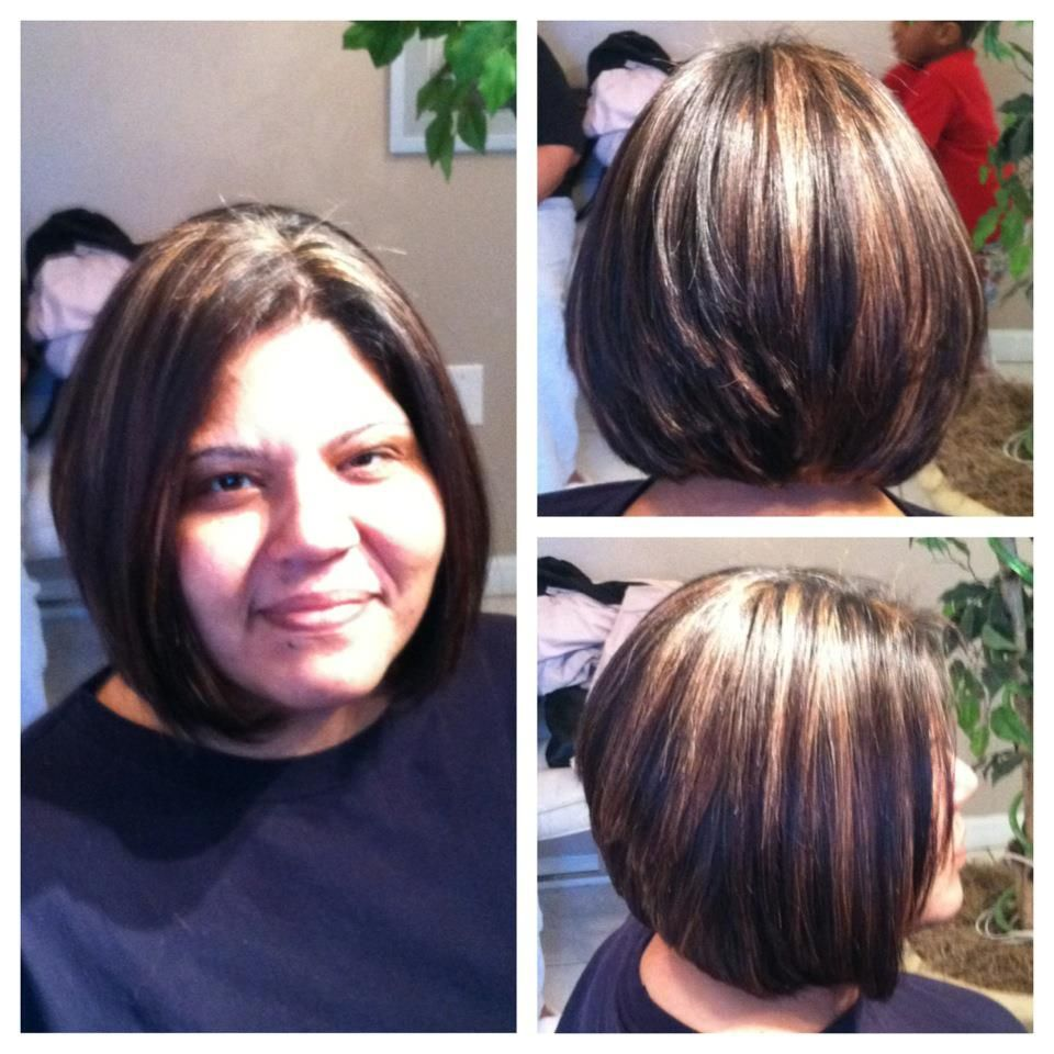 Stacked bob w highlights for more of my make up u hair work check