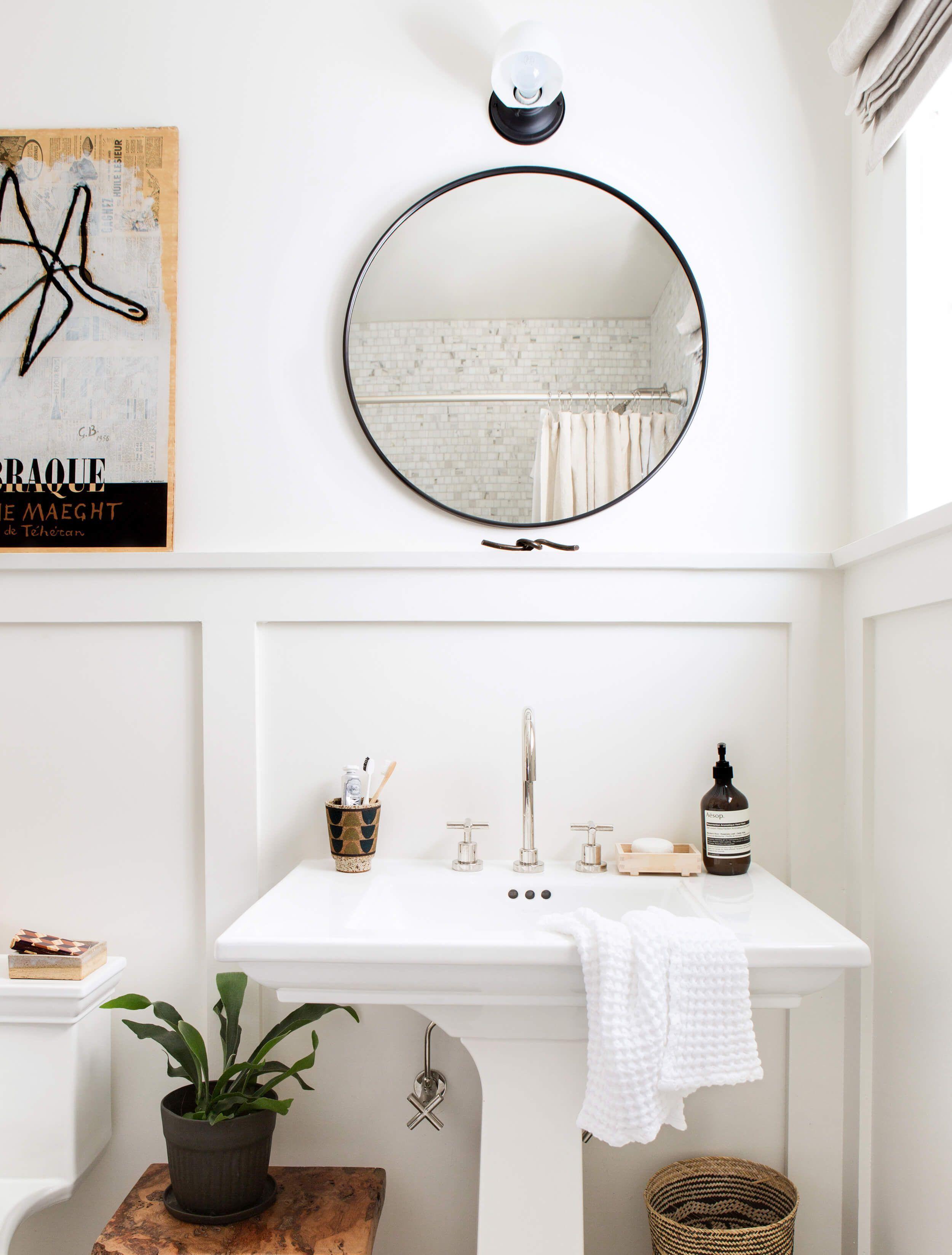 Pedestal Sink Schoolhouse Light Round Mirror Vintage Art Hits