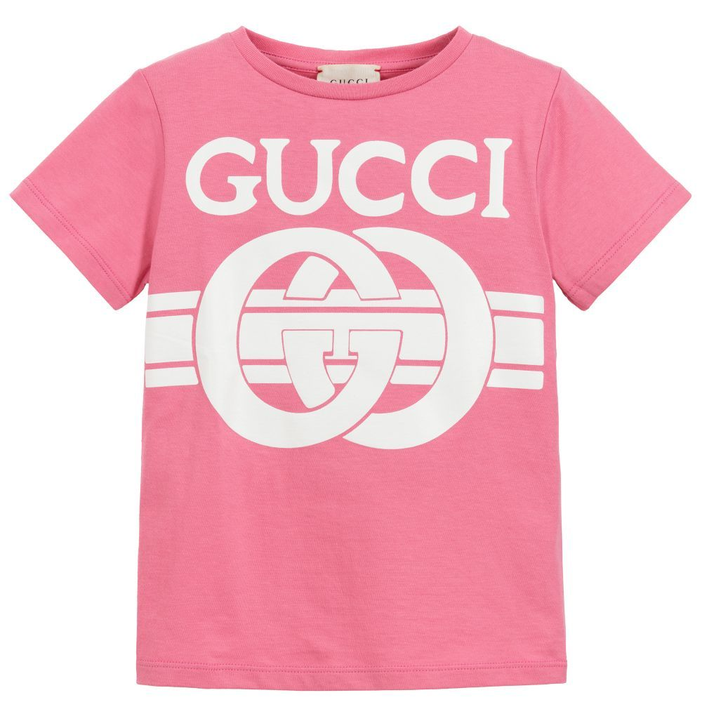 db608e642 Girls pink cotton T-shirt by Gucci, with a logo print in white. Made ...