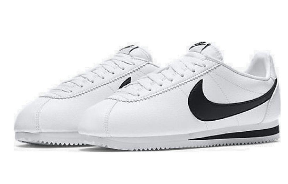 Nike Classic Cortez Leather Shoes Mens 10.5 White Black