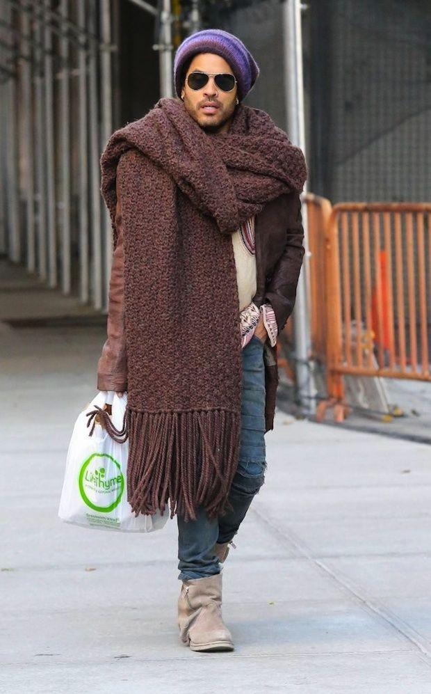 Lenny Kravitz wearing a HUGE scarf | UpscaleHype · SonstigesTropische  KleidungGroßer SchalSchalsLenny KravitzIngenieureRick OwensDessertsGarne