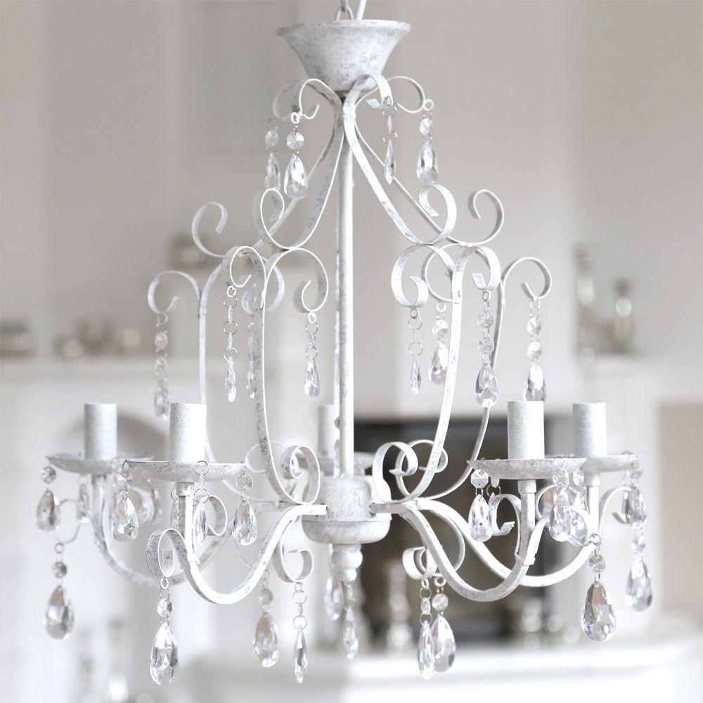 Kronleuchter SHABBY WHITE Grau Weiß Antik Shabby Chic 5 Armig Im  Landhausstil In Möbel U0026