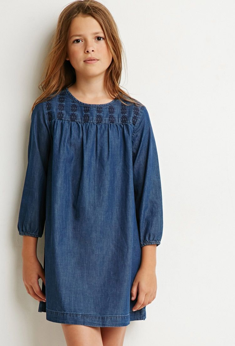 e5ce093291c Girls Embroidered Denim Dress (Kids)
