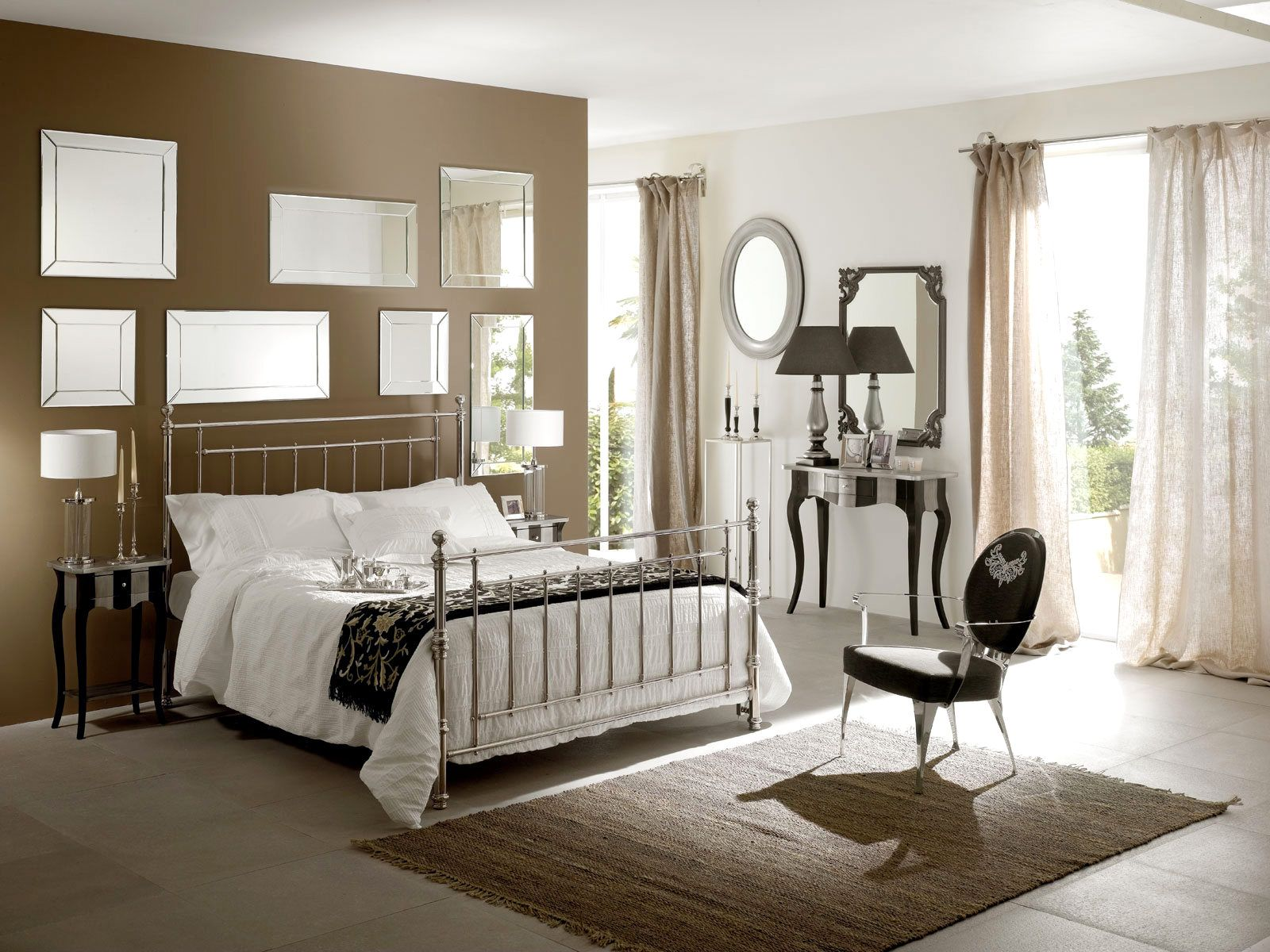 Good Pleasant And Beautiful Girls Bedroom Decorating Idea With Chic Chrome Bed  Frame And White Comforter Set And Curvy Black Nightstands Design Also Wall  Mirrors ...
