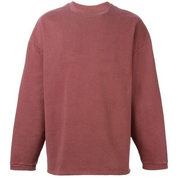 Yeezy Adidas Originals by Kanye West Oversize Sweatshirt (1.610 BRL) ❤ liked on Polyvore featuring men's fashion, men's clothing, men's hoodies, men's sweatshirts, red, mens oversized sweatshirt and mens red sweatshirt