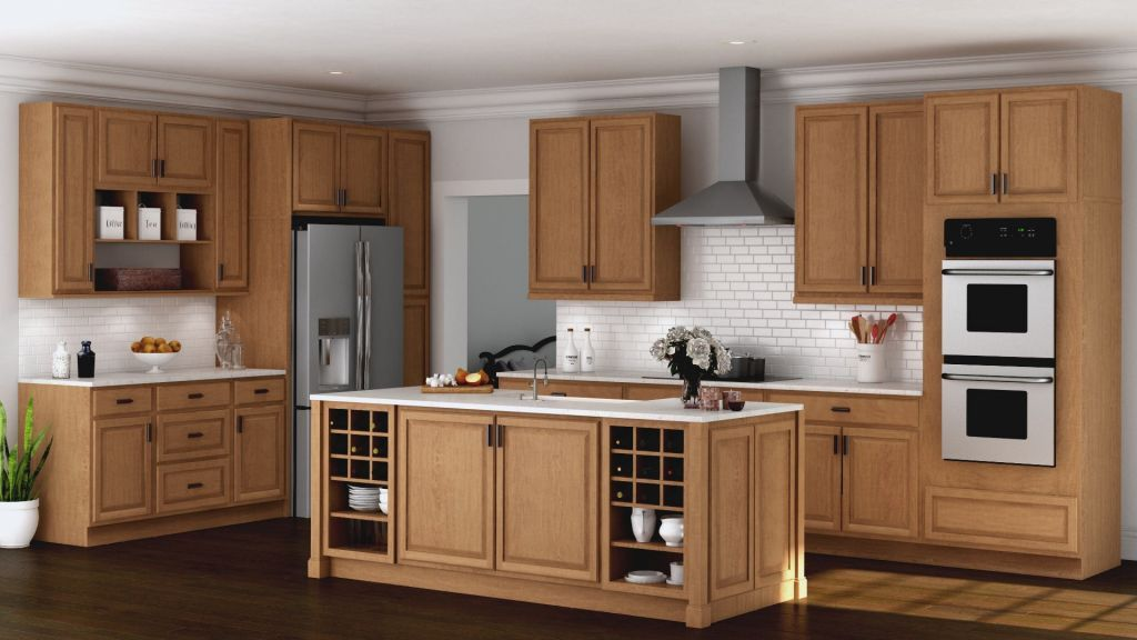 Kitchen Cabinets Hampton Wall In Medium Oak With The Concept Of Natural And Natural Wood Co Oak Kitchen Cabinets Home Depot Kitchen Solid Wood Kitchen Cabinets