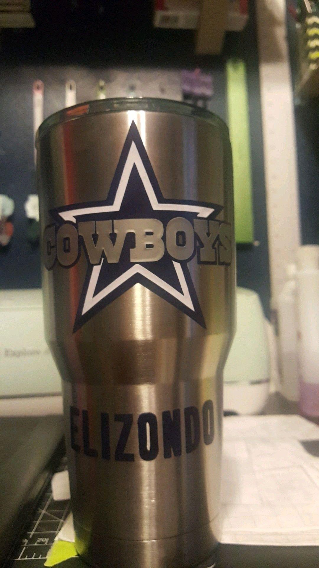 Cowboys logo in cricut white, navy blue and silver vinyl
