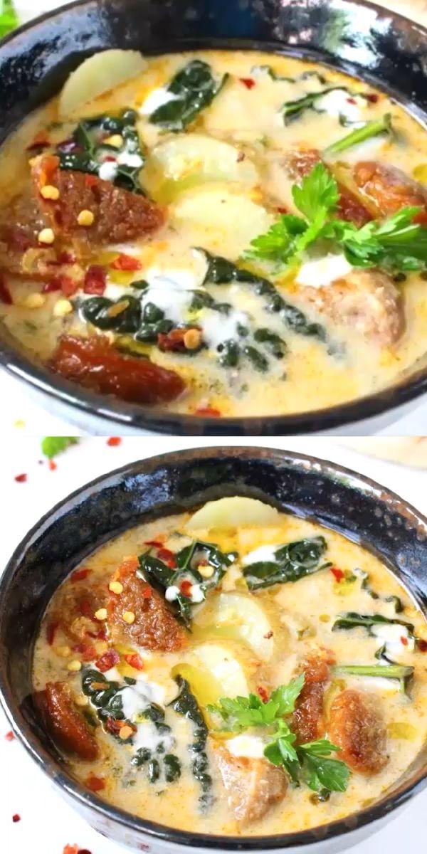 Vegan Zuppa Toscana Recipe • Veggie Society #zuppatoscanasoup