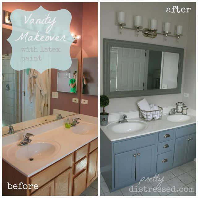 Bathroom Oak Vanity Makeover With Latex Paint