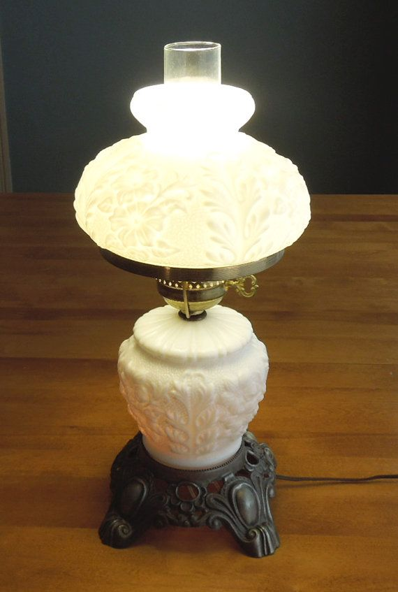 Vintage Milk Glass Hurricane Lamp And Night Light Antique Metal Base    Cottage Chic Lighting Decor   White Floral Lamp Night Light