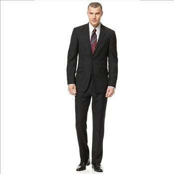 Kenneth Cole Reaction 2 PC Suit Black Solid Slim Fit, Size 44L - 37W Unhemmed, Retail $650 | Property Room