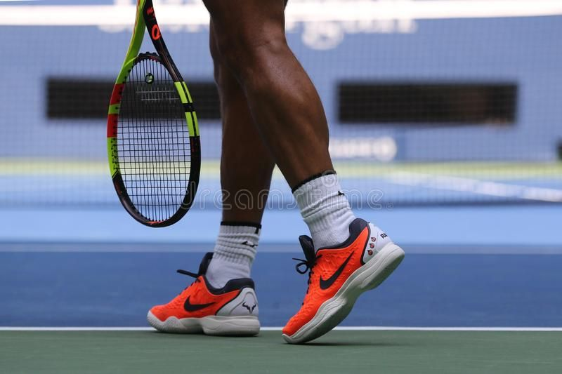 Grand Slam Champion Rafael Nadal Of Spain Wears Custom Nike Tennis Shoes During Affiliate Spain Nadal Custom We In 2020 Nike Tennis Shoes Nike Tennis Tennis