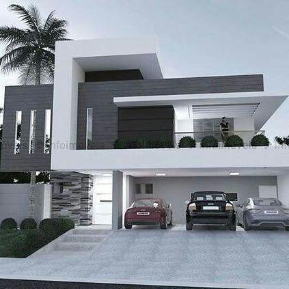 casa contempor nea com fachada branca e cinza dise os casa pinterest architektur. Black Bedroom Furniture Sets. Home Design Ideas