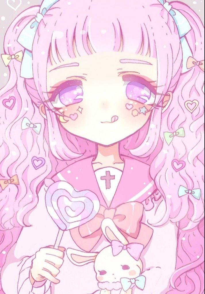 ANIME ART pastel. . .pink hair. . .ribbons. . .lollipop