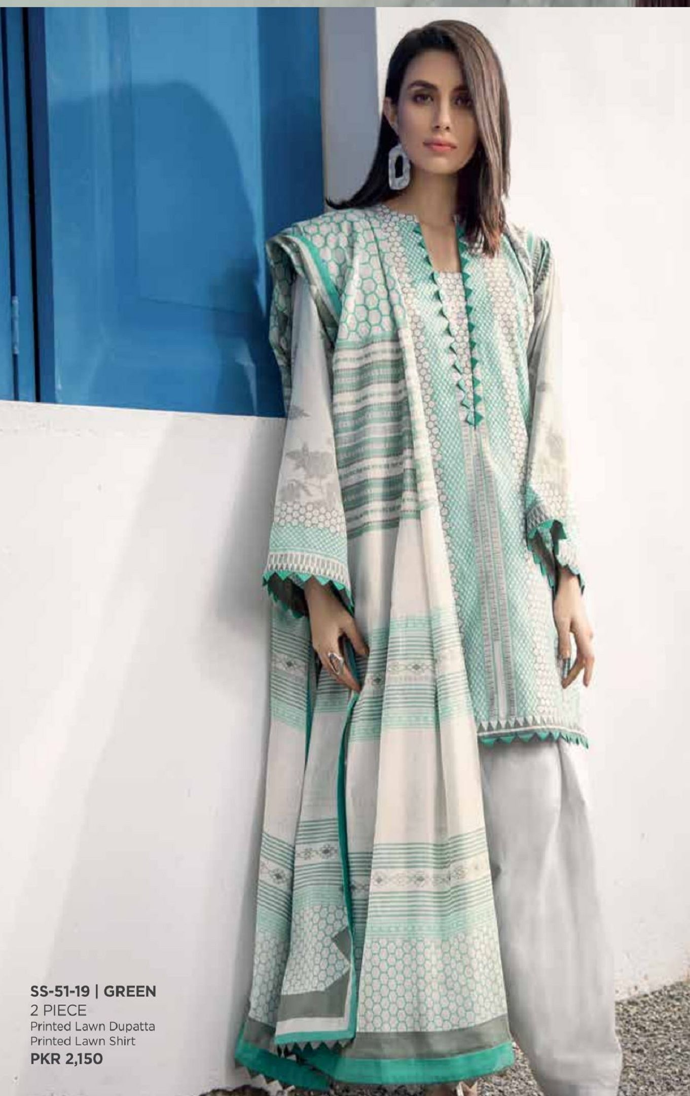 66306ad76f Alkaram Spring Summer Collection Original Pakistani Suit SS-51-19 (Green)