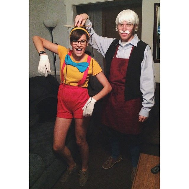 9e098dc003a DIY Halloween couple costume idea  Pinocchio and Geppetto  disney movie  characters  college kids  puppet  clever