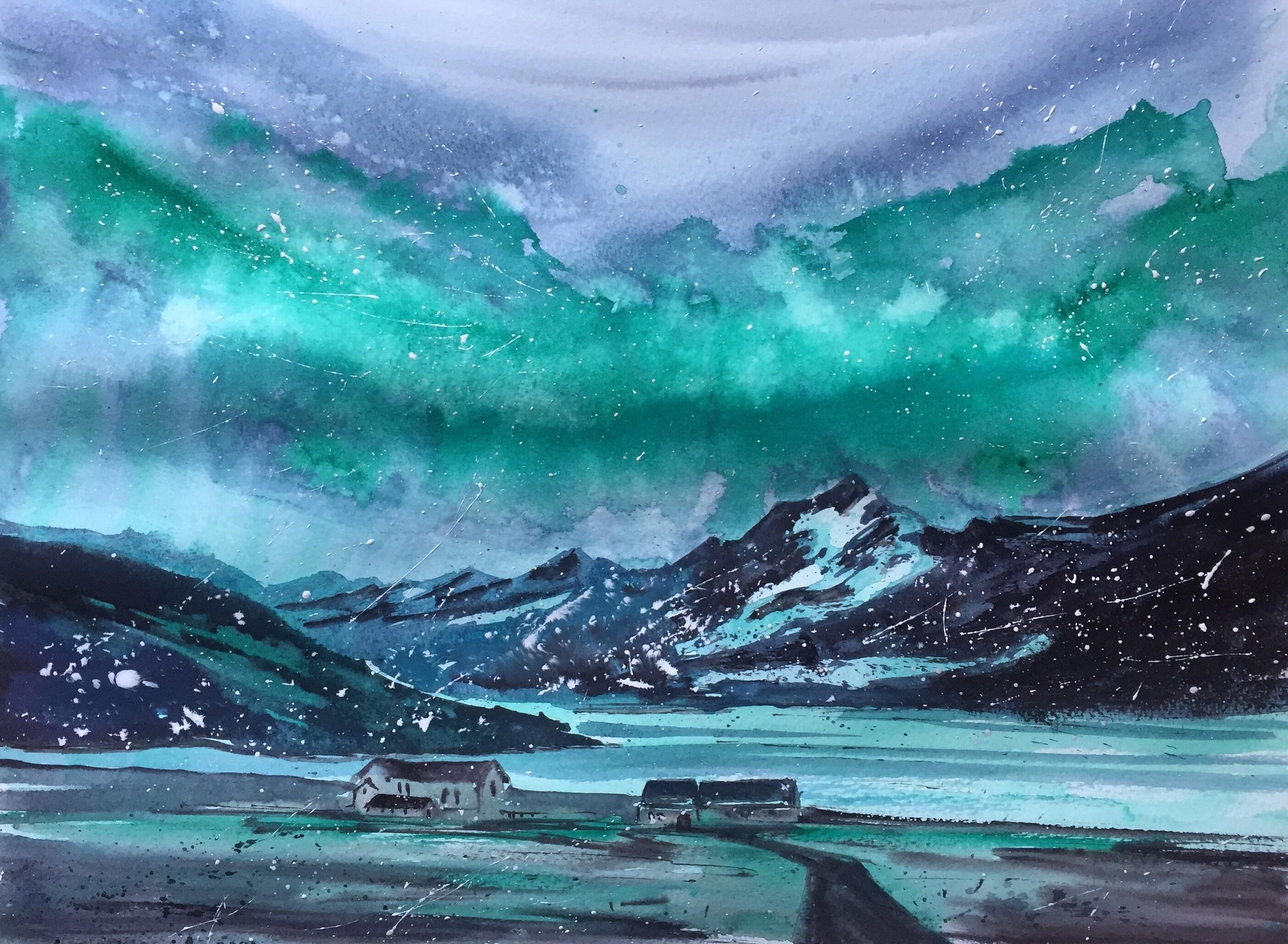 Aurora Borealis Watercolor 40x30cm Visit Http Www