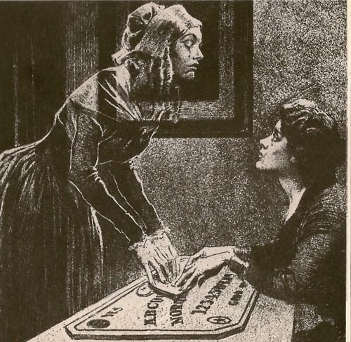 "The Ouija board also known as a spirit board or talking board, is a flat board marked with the letters of the alphabet, the numbers 0-9, the words ""yes"", ""no"", ""hello"" (occasionally), and ""goodbye"", along with various symbols and graphics. Mainstream religions and some occultists have associated use of a Ouija board with the threat of demonic possession, and some have cautioned their followers not to use them."