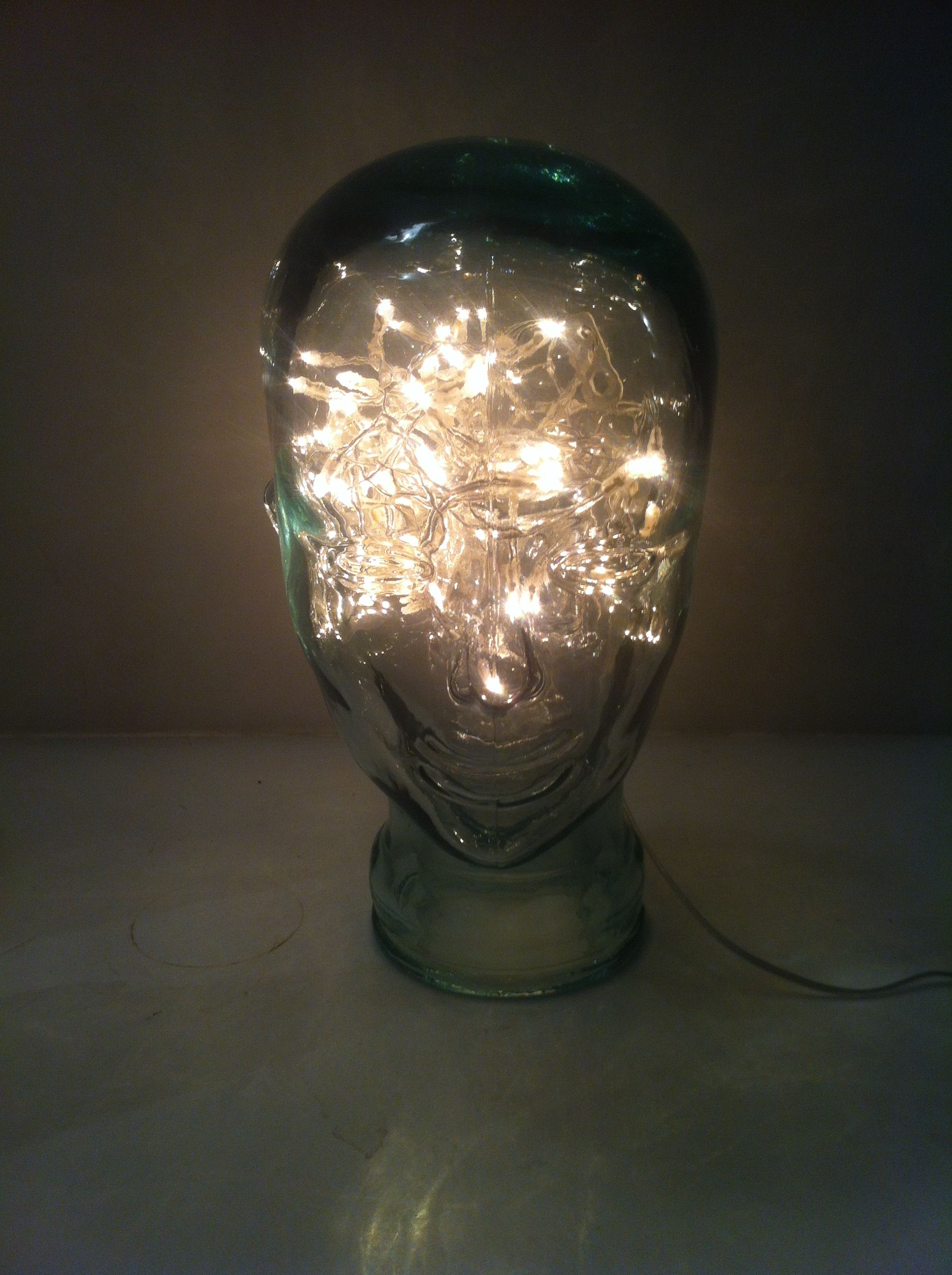 Glass head with fairy lights | glass