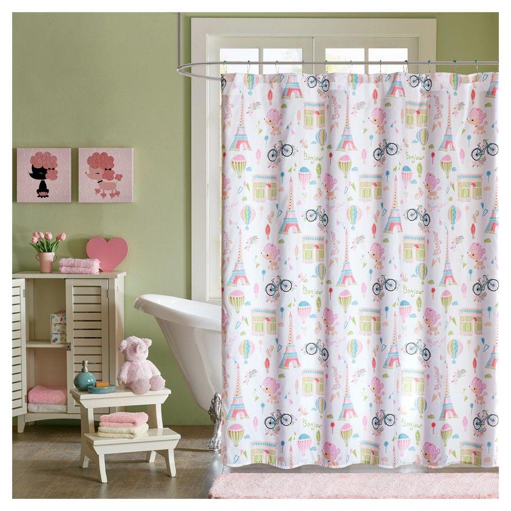 Poodles In Paris Microfiber Printed Shower Curtain Pink 72x72 Shower Curtains Walmart