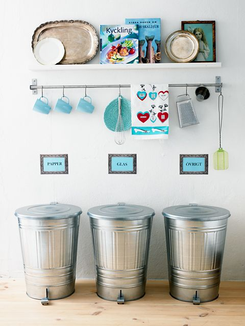 organized recycling Love the trash cans! I feel like oscar the ...