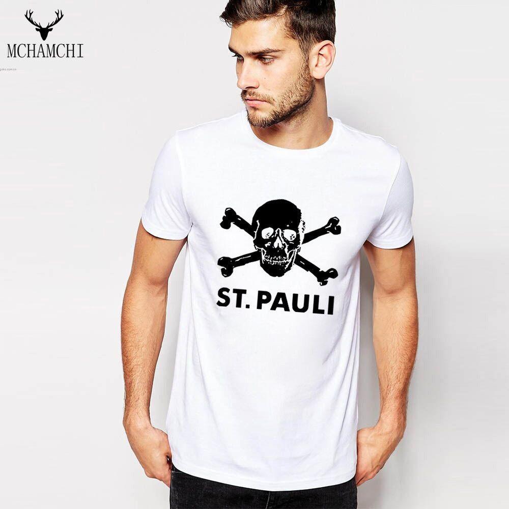 MCHAMCHI Print Skeleton Head Letter ST.PAULI T-shirt Cotton Gymcapsule Stringer Men T-shirt Bodybuilding Dog Clothing Fitness