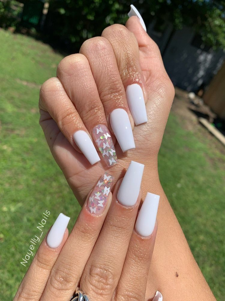 White Butterfly Nails In 2020 Acrylic Nails Coffin Short Pretty Acrylic Nails White Acrylic Nails