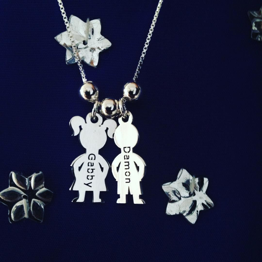 524c398e5bc21 Sterling Silver Children's Name Charms Necklace. | Tabitha Designs ...