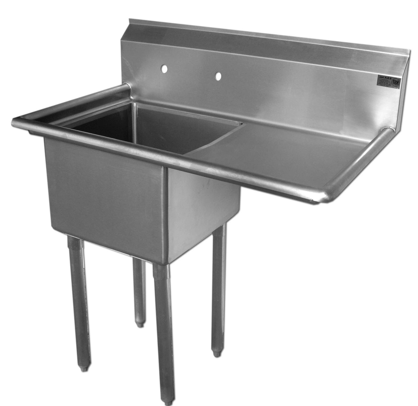 Economy Stainless 1 Well 24x24 Sink W 24 Drain Board Right With