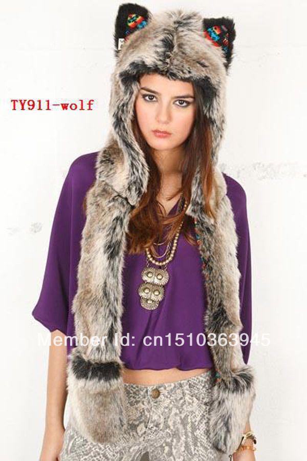 48177e935 Grey Bear Fashion Animal Hood Unisex Winter Faux Fur Hat Long Ear ...