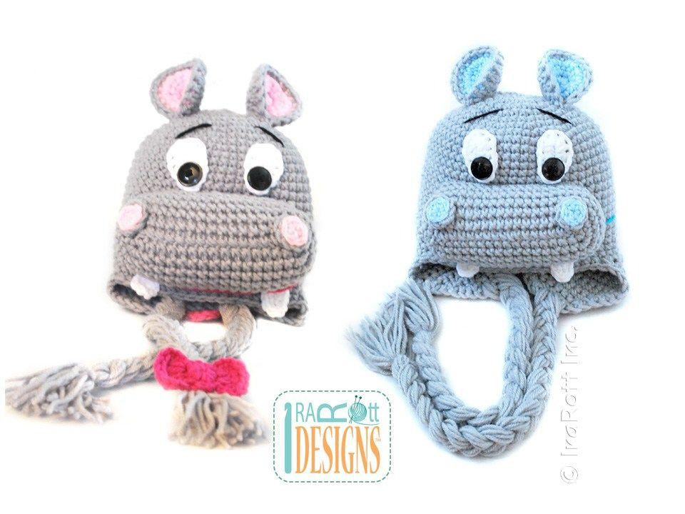 Happy Hippo the Hippopotamus Hat PDF Crochet Pattern | Häkeln