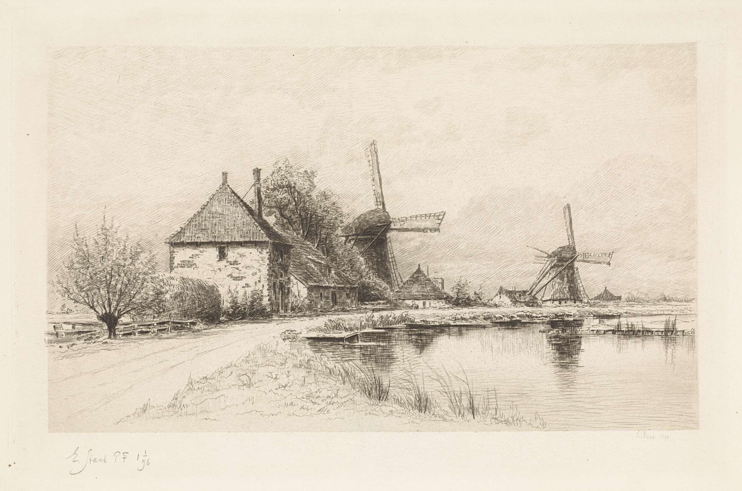 Huizen En Twee Molens Langs Een Rivier Elias Stark 1894 Landschap Tekeningen Potloodschets Potloodtekeningen