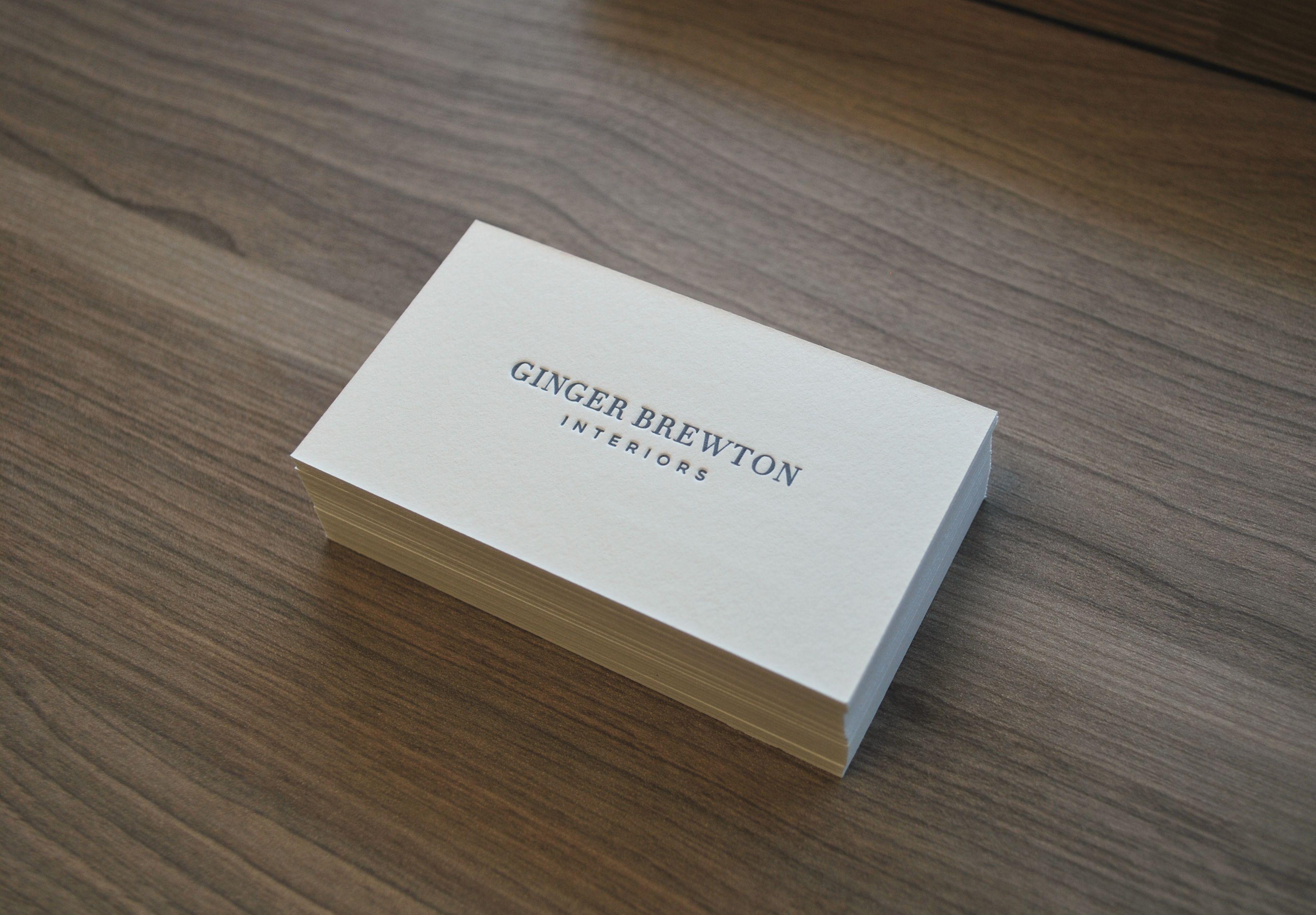 letterpress business card design for our client ginger brewton