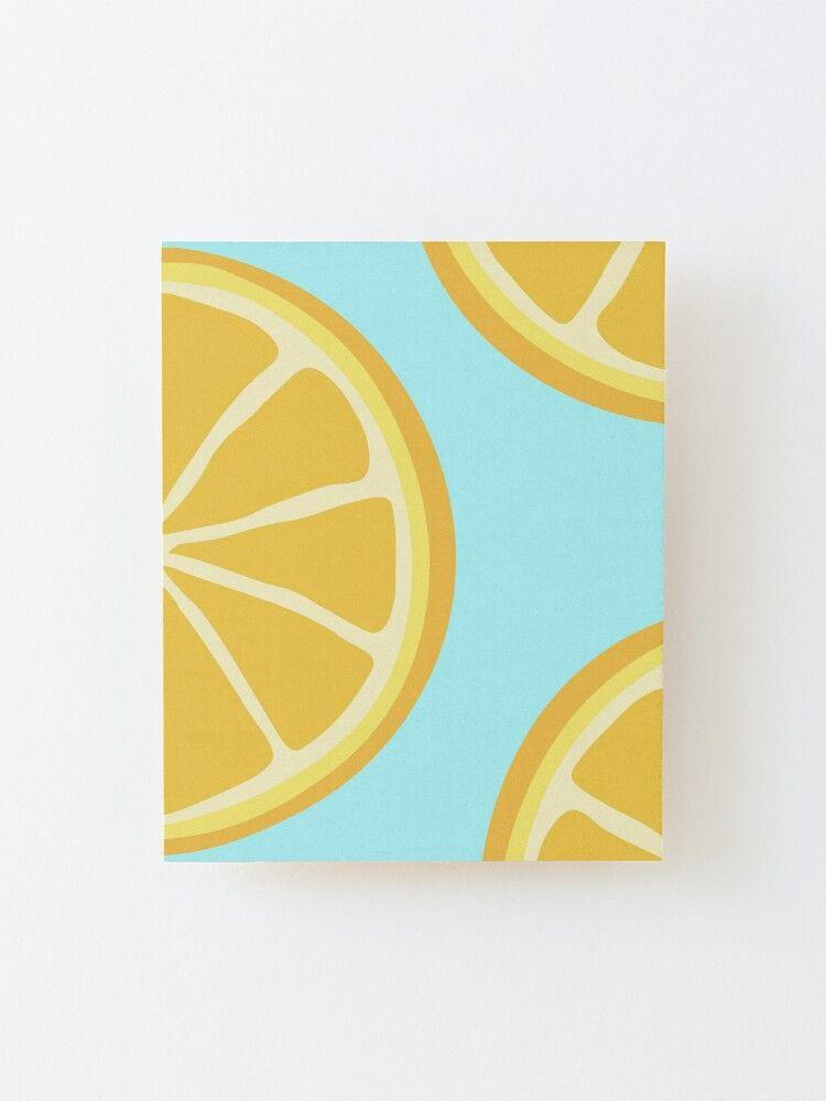 Lemons In Aqua Wood Mounted Print by designsbybell