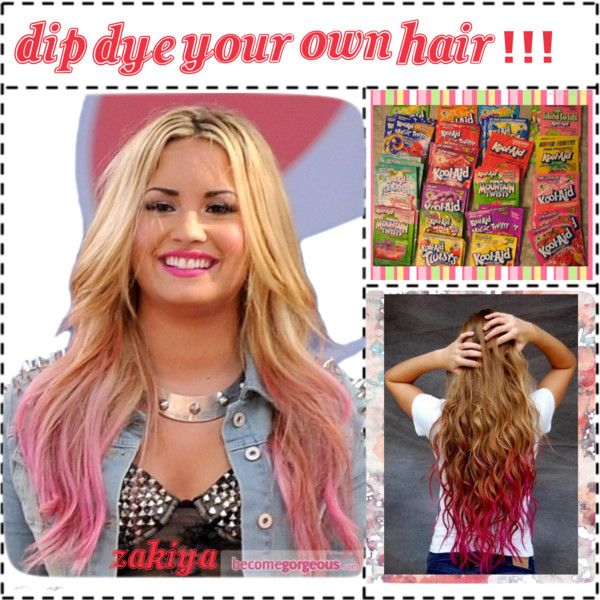 How To: Dip Dye Your Hair With Kool Aid by tip-chicks on Polyvore ...