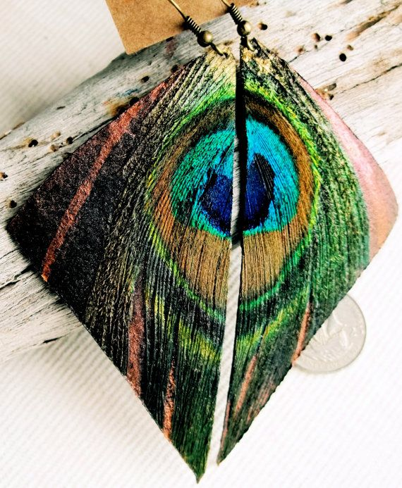 Bronze Painted Leather & Peacock  Feather Triangle by islandmantra, $24.00