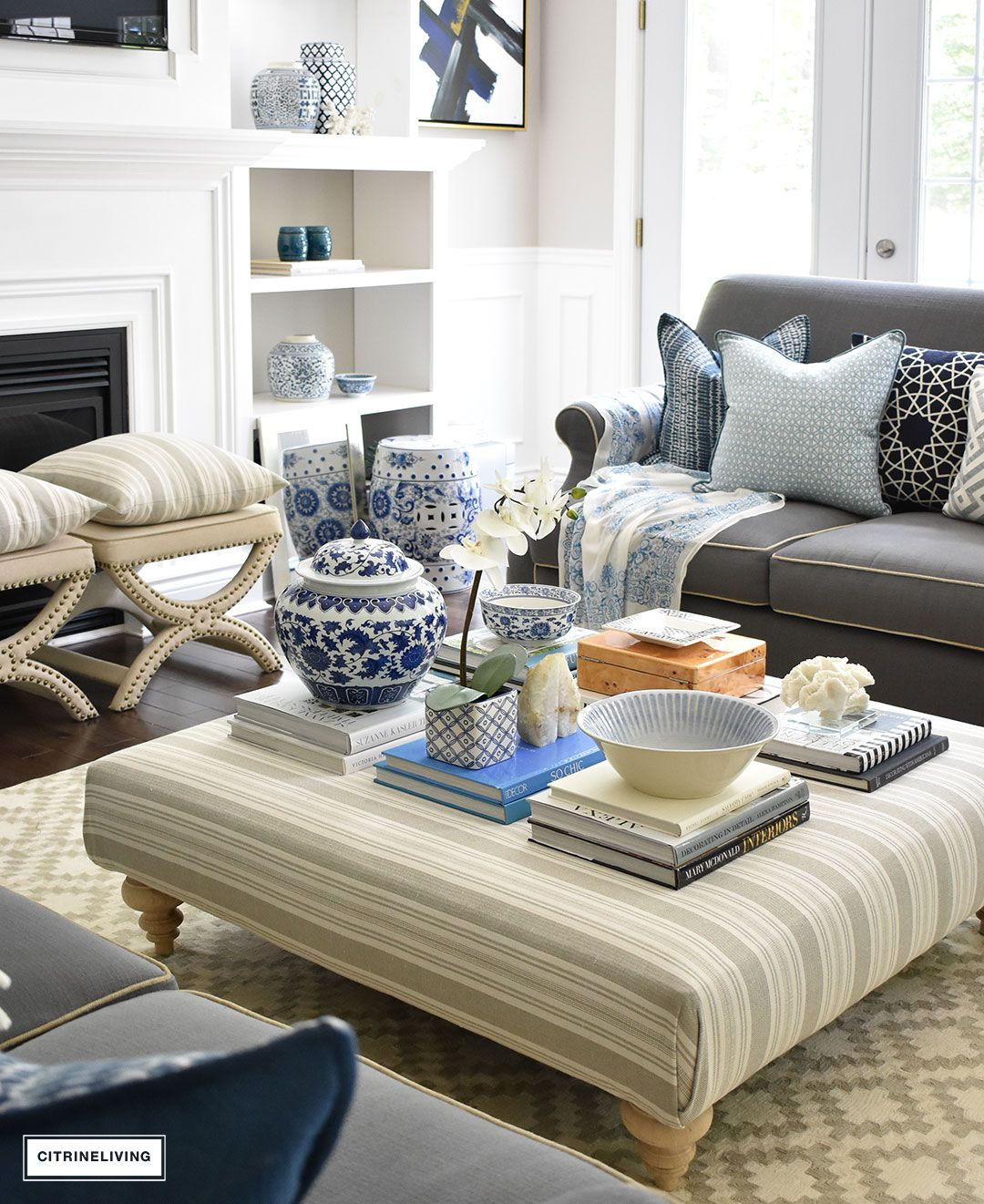 3 Ways To Style Your Coffee Table Or Ottoman Coffee Table Decor Ottoman Coffee Table