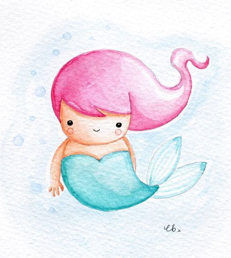 Image result for cute watercolour mermaid myths are for Cute watercolor paintings