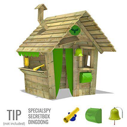 Lovely FATMOOSE Spielhaus HippoHouse Heavy XXL Kinderspielhaus Garten Spielger t Holz mit Holzdach Schornstein und breiter Ladentheke