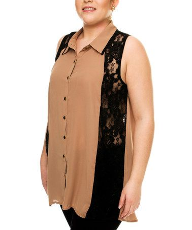 Look at this #zulilyfind! Taupe & Black Lace Sleeveless Top - Plus #zulilyfinds