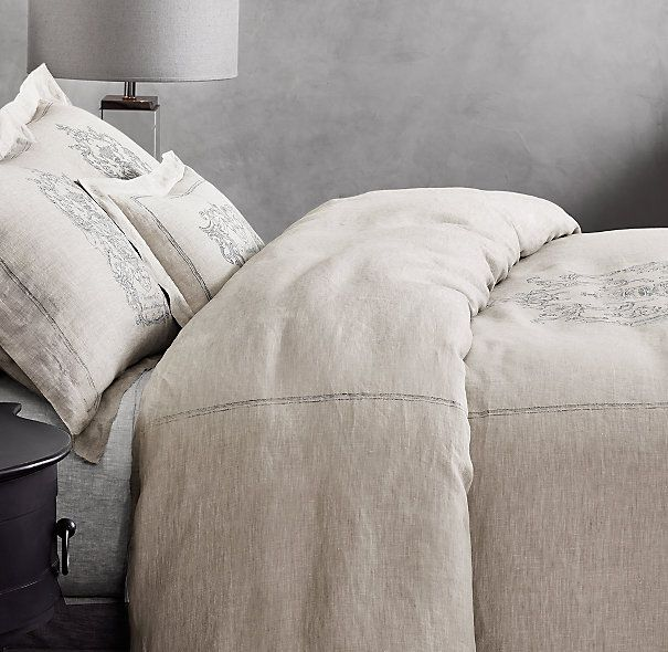 Wentworth Crest Vintage Washed Belgian Linen Bedding Collection Belgian Linen Bedding Belgian Linen Duvet Covers Bedding Collections